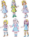 Set of cute dolls girl color vector illustrations Stock Photos
