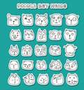 Set of cute doodle cats. Funny animals. Isolated cat