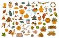 Set of cute drawn autumn fall thanksgiving seasonal items
