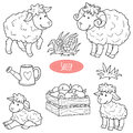 Set Of Cute Farm Animals And O...