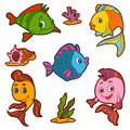 Set of cute fish and natural sites, vector stickers Royalty Free Stock Photo