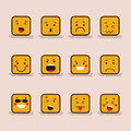 Set cute flat design of cube character with different facial expressions, emotions. Collection of emoji isolated on