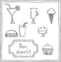 Set of cute food drawings doodle style Royalty Free Stock Image