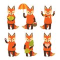Set of cute fox characters isolated on white background. Collection of autumn characters. Vector illustration in cartoon style
