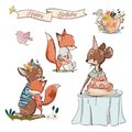 Set with cute fox and fawn