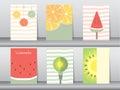 Set of cute fruit poster