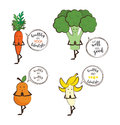 Set of cute fruits and vegetables doing yoga with motivation quotes.