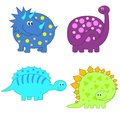 Set of cute funny Dinosaurs Royalty Free Stock Photo