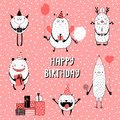 Set of cute funny monsters celebrating birthday
