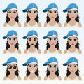Set of cute girl in a cap emoticons.