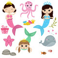 Set of cute girl mermaids Royalty Free Stock Photo