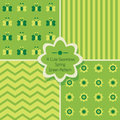 Set of 4 cute green seamless patterns Royalty Free Stock Photo