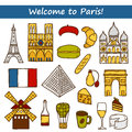 Set of cute hand drawn cartoon objects on paris eiffel tower flag moulen rouge wine croissant macaroon notre dame travel concept Stock Image
