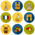 Set of cute hand drawn cartoon objects on paris eiffel tower flag moulen rouge wine croissant macaroon notre dame travel concept Stock Images