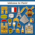 Set of cute hand drawn cartoon stickers on paris eiffel tower flag moulen rouge wine croissant macaroon notre dame travel concept Royalty Free Stock Photos