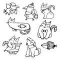 Set of cute hand-drawn contour animals pets