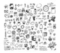 Set of cute hand drawn elements about love. Sketchy vector hand drawn doodles cartoon set of Love