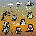 Set of cute hand drawn owls.