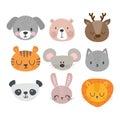 Set of cute hand drawn smiling animals. Cat, deer, panda, tiger, dog, lion, bunny, mouse and bear. Cartoon zoo Royalty Free Stock Photo