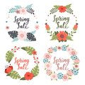 Set of cute hand-drawn Spring Sale banners. Vector illustration.