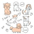Set of cute handdrawn dogs illustrations isolated Royalty Free Stock Photo