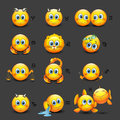Set of cute horoscope emoticons, emoji - astrological signs - zodiac - illustration