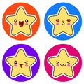 Set of cute Kawaii stars on different circle.