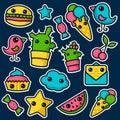 Set of cute kawaii stickers