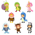 Set of cute kids wearing animal costumes. Snail, turtle, unicorn