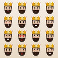 Set of cute king emoticons.