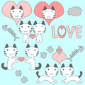 Set of cute kittens romantic theme Stock Images