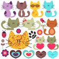 Set of cute kittens various Stock Image