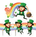 Set of cute leprechauns. Royalty Free Stock Photo