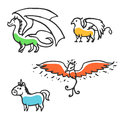 Set of cute little cartoon mythical beasts Royalty Free Stock Photo