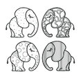 Set of cute little elephant with ornaments. Hand-drawn illustration for coloring book