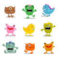 Set of cute little  monsters 1 Stock Photo