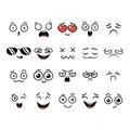 Set of cute lovely kawaii emoticon.