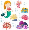 Set of cute mermaid and sea theme