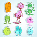 Set of cute monster in doodle style Royalty Free Stock Photo