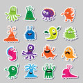 Set of cute monsters in the form of stickers
