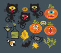 Set of cute monsters for halloween vector illustration Royalty Free Stock Photos