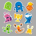 Set of cute monsters stickers