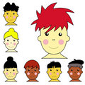 Set of cute multicultural boy and girl faces illus