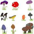Set of cute mushroom line art Stock Images