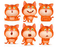 Set of cute orange cat cartoon characters in various poses.