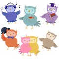 Set of cute owls isolated on white background. Vector illustration