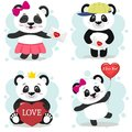 A set of cute pandas on Valentine`s Day in the style of a cartoon.