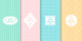 Set of cute pastel seamless patterns with frames. Abstract geometric background