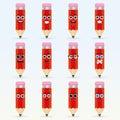 Set of cute pencil emoticons.
