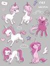 Set with cute pink unicorns